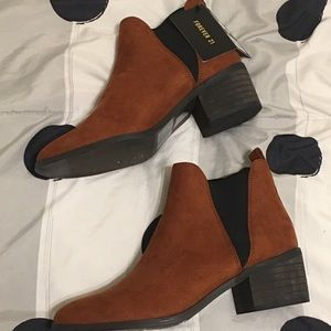 Shoes - Forever 21 rusty brown suede pointed Booties